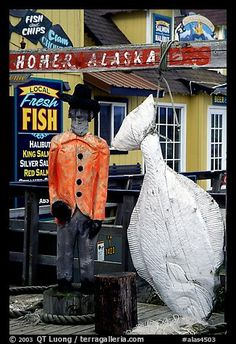 Halibut fishing sculpture on the Spit. Homer, Alaska, USA