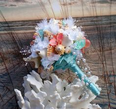 Coral and Aqua Beach Bouquet, Seashell Bouquet, Bridal Bouquet, Beach Bouquet, Tropical Bouquet, Destination ,Seaside , Made to Order by SlyCreationsBouquets on Etsy