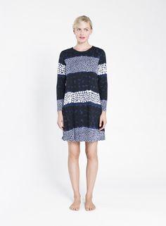 marimekko Stormis dress in blue/black/white cotton jersey Marimekko Dress, Dedicated Follower Of Fashion, Blue Dresses, Tunic, Style Inspiration, Black And White, My Style, Sweaters, How To Wear