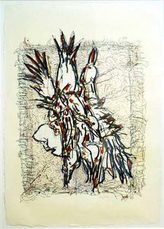 "Jean Paul Riopelle,  Cap Tourmente (C), 1983,  Lithographie, 36"" x 25"""