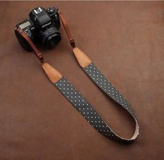 Blue Cowboy White Dot Strap Handmade Leather DSLR Camera Strap in Brown 7117