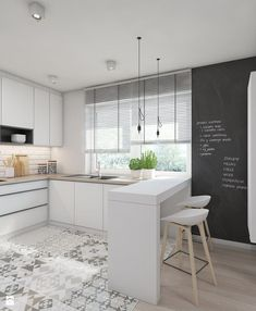 White contemporary kitchen cabinets – Notice that these kinds of kitchens are such a great idea, maybe you will even consider redoing your kitchen according to this clear trend. For more trends like this go to Home Kitchens, Kitchen Design Small, Kitchen Remodel, White Contemporary Kitchen, Kitchen Design, White Modern Kitchen, Kitchen Flooring, Kitchen Interior, Contemporary Kitchen Cabinets