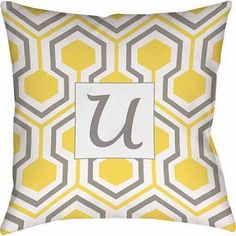 Thumbprintz Honeycomb Monogram Decorative Pillow, Yellow