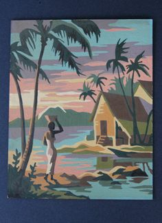 Vintage Paint By Number Paintings | Tropical Paint By Number Painting Set of Two - Vintage Wall Art