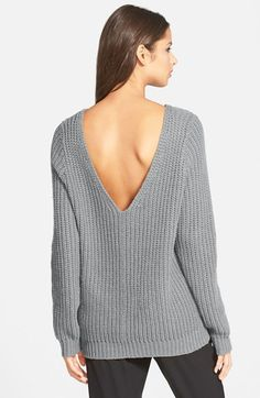 Leith+Shaker+Stitch+V-Back+Sweater+available+at+#Nordstrom