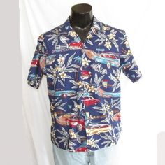 9b798c40 Details about RJC Mens Hawaiian Shirt Made in Hawaii Size Large Palm Trees  and Surfboards Cars