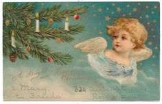Kopal Ellen Clapsaddle Angel in Starry Sky Looks at Christmas Tree | eBay