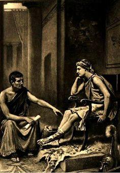 아리스토텔레스와 알렉산더 대왕 - Jean Leon Gerome Ferris 作 알렉산더 대왕의 스승은 당시의 대학자였던 아리스토텔레스였다. 알렉산더 대왕이 왕자였던 시절부터 사제지간이었던 이 두 사람은 아주 각별한 사이였다. 아리스토텔레스는 알렉산더 대왕에게 정치적으로 큰 영향을 끼쳤고 알렉산더 대왕은 각지에서 얻은 자료를 아리스토텔레스에게 제공했다고 한다. 이 작품에는 아리스토텔레스를 신뢰하고 그와 진지한 대화를 나누는 현명한 군주의 모습이 잘 나타나 있다.