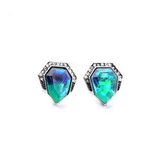 Concise Style Modern Women Party Jewelry Sparkling Blue Crystal Stud Earrings…