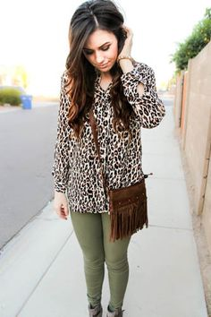 Spotted blogger Claire of Beauty and a Bargain blog in a Charlotte Russe leopard top! #ootd