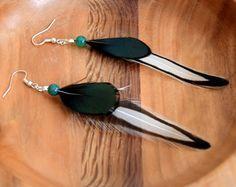 Boucles d'oreilles plumes Ayanna- plume blanche - Bijoux ethniques - Bijoux indiens - Boho -