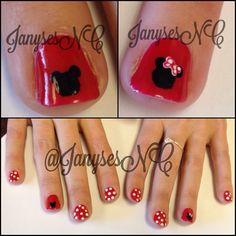 Mickey Mouse simple nail  | Tiny roses and swirls! #janysesnc #janysesnailcreations #nailart # ...