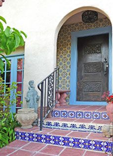 Talevera tile, fountain, ironwork, landscaping, accents and lighting