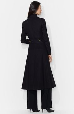 Wool Blend Military Maxi Coat