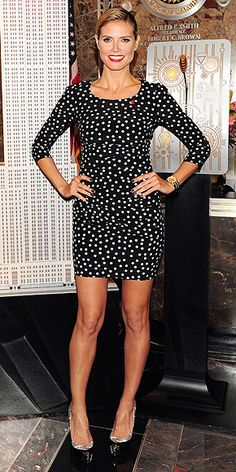 POLKA DOTS  For a modern spin on the girlie pattern, a sophisticated silhouette such as Heidi Klum's sexy sheath is spot-on and benefits from equally mature accessories, such as the supermodel's patent pumps, oversize Wildlife by Heidi Klum watch and ruby-red lips.
