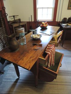 This is a great example of our natural tops. This vintage inspired baker's table sports a single reclaimed Pine board with no stains or dyes, what it is. Trestle Table, Dining Table, Bakers Table, Early American, Handmade Furniture, Farmhouse Table, Joinery, Dyes, Home Projects