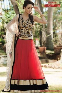 designer lehenga choli with price Get this red lehanga choli with Black & Gold designer lehenga choli and become a DIVA!! Get is at: http://www.aishwaryadesignstudio.com/aishwarya%20exclusive%20lehenga/15528-wedding-wear-red-blue-designer-lehenga-choli.aspx