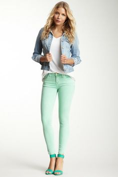 if its cool enough: first day of school outfit:) <3 my mint pants from loft, AE jean jacket with white collared shirt and flats