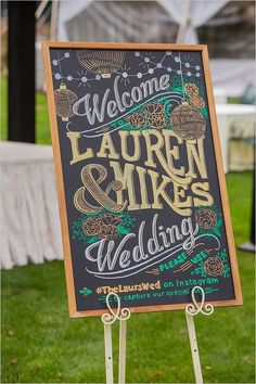welcome chalkboard wedding sign - Deer Pearl Flowers