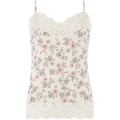 Dorothy Perkins **DP Lounge Floral Lace Detail Cami Top ($16) ❤ liked on Polyvore featuring tops, blusas, tanks, multi color, rayon tops, colorful tank tops, floral tank, cami tank and flower print top
