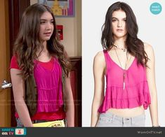 Riley's pink ruffled top and vest on Girl Meets World.  Outfit Details: http://wornontv.net/50984/ #GirlMeetsWorld