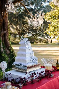 Nice way to add drama and size to a beautiful cake.