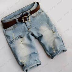 Summer Ripped Holey Shorts Motorcycle Punk Mens Jeans Short Thigh Pants NC0013 #New #CasualShorts