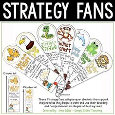 Reading Strategy Fanswill allow you to Model and Teach your students how to use common reading strategies to help them decode unknown word and use context clues to aid in comprehension. They are easy-to-use for your students and easy-to-prep for YOU! #guidedreading #strategyfans #firstgrade #secondgrade