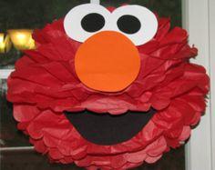 """Kit de pompón de papel de tejido rojo Monster, inspirado por """"Elmo"""" de Barrio Sésamo"""