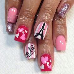 Top 14 Cute Valentine Nail Designs – New Easy Pretty Home Manicure Ideas - Bored Fast Food Fancy Nails, Love Nails, Pink Nails, Pretty Nails, My Nails, Heart Nail Designs, Valentine's Day Nail Designs, Paris Nails, Manicure Y Pedicure