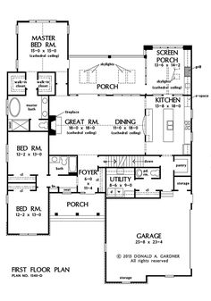 Gardner has house plans, home plans, home designs, and floor plans for both homeowners and builders. Buy the online house plan of your dreams! Best House Plans, Dream House Plans, Small House Plans, House Floor Plans, D House, House With Porch, Cottage House, Tiny House, House Layouts
