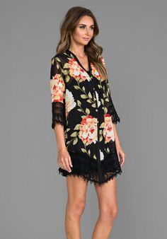 JEN'S PIRATE BOOTY Amber Moon Shirt Dress in Black Floral - Jen's Pirate Booty