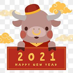 New Year Card Design, Chinese New Year Design, Chinese New Year Greeting, New Year Designs, Happy Chinese New Year, New Year Cartoon, Cartoon Cow, Year Of The Cow, Chinese New Year Wallpaper