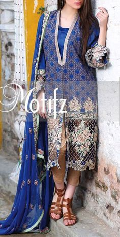 Buy Navy Blue Embroidered Cotton Lawn Dress by Motifz 2016 www.pakrobe.com Call:(702) 751-3523 Email: Info@PakRobe.com www.pakrobe.com/... #DESIGNER #LAWN #DRESSES