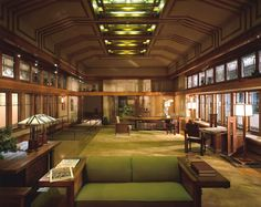 """""""Light, God's eldest daughter, is a principal beauty in a building."""" — Thomas Fuller (1608-1661) The Holy State, Book 2, chapter 7 — Image: The living room from Frances W. Little's summer house in Wayzata, Minnesota, designed by Frank Lloyd Wright in 1912, and rebuilt inside the American Wing of the Metropolitan Museum of Art in New York City — #light #buildings #beauty #ThomasFuller #TheHolyState #quoteoftheday"""