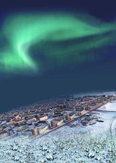 северное сияние в г.Норильск