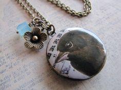 Sweetbird Locket Black Bird Locket Necklace by amandadavie on Etsy, $38.00