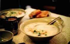 전복죽(jeonbokjuk) / Rice Porridge with Abalone  Rice porridge cooked with minced abalone. It is regarded as a delicacy.