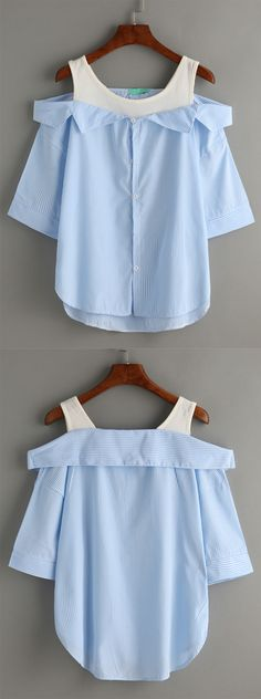 Pale Blue Contrast Open Shoulder High Low Blouse
