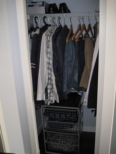 """The """"Minimalist Mom"""" donated 80% of her wardrobe ... and did the same for her husband! This is what the closet looked like when she was done. http://www.theminimalistmom.com/2010/09/the-great-declutter-goodbye-wardrobe-goodbye/"""