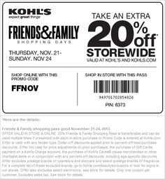 Pinned November 22nd: 20% off at Kohls, or online via promo code #FFNOV #coupon via The Coupons App