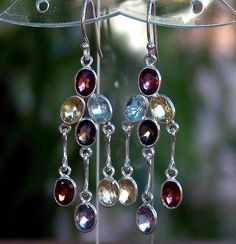 12.00cts. Genuine Multi-Gem 925 Solid Sterling Silver Dangle Earrings  Visit my eBay store for this and more beautiful genuine gemstone jewelry! http://www.hmfinejewelryandmore.com Also on eBay: http://stores.ebay.com/hm-fine-jewelry-and-more  #earrings #finejewelry #gemstones #birthstones #garnet #citrine #topaz #amethyst