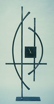 freestanding contemporary design clock in the style of wassilly kandinsky
