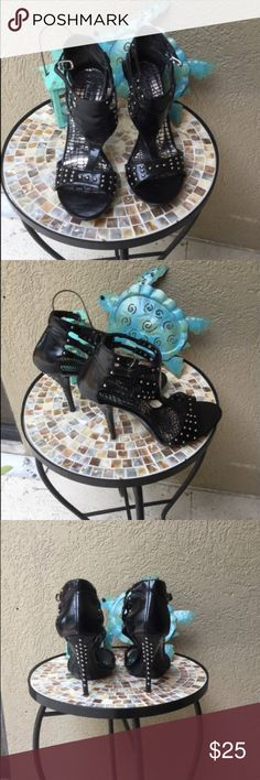 "🆕Michael Antonio black strappy studded heels Michael Antonio black strappy studded heels  Super sexy no studs missing. EUC .5"" platform & 4"" heels one small mar on back see last pic ✅I ship same or next day ✅Bundle for discount Michael Antonio Shoes Heels"