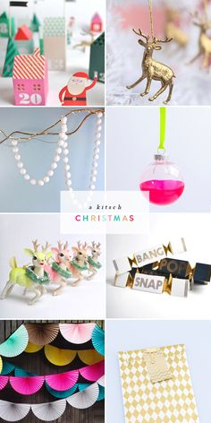From left to right: 3D village advent calendar // golden dear decorations // pom pom garland // neon dipped bauble // retro reindeer ornament // pop crackers // fan garland // gold diamond paper ba...