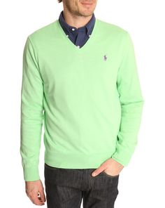 POLO Ralph Lauren, Optic Lime V-Neck Pima Cotton Sweater