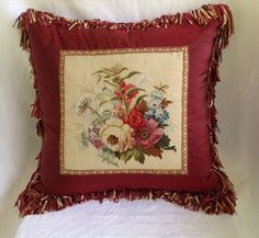 Antique 1800s French Aubusson Tapestry Floral Textile Pillow