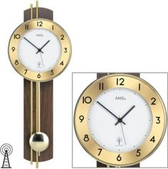 AMS AMS Wanduhr mit Pendel Funk, Holzrückwand nussbaum furniert, Messingstäb Jetzt bestellen unter: https://moebel.ladendirekt.de/dekoration/uhren/wanduhren/?uid=f02d46cd-f653-5c16-a798-7905b362fd69&utm_source=pinterest&utm_medium=pin&utm_campaign=boards #heim #uhren #dekoration
