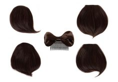 Bundle Monster Womens 5pc Chic Bang Fringe Clip On Hair Bow Beauty Piece Extension Colored Set- Mahogany - UPC: 700580457262