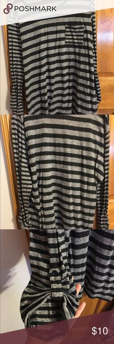 Black & Grey Striped Shirt Size Large. Worn once. Tag is cut out only because it was itchy. Tops
